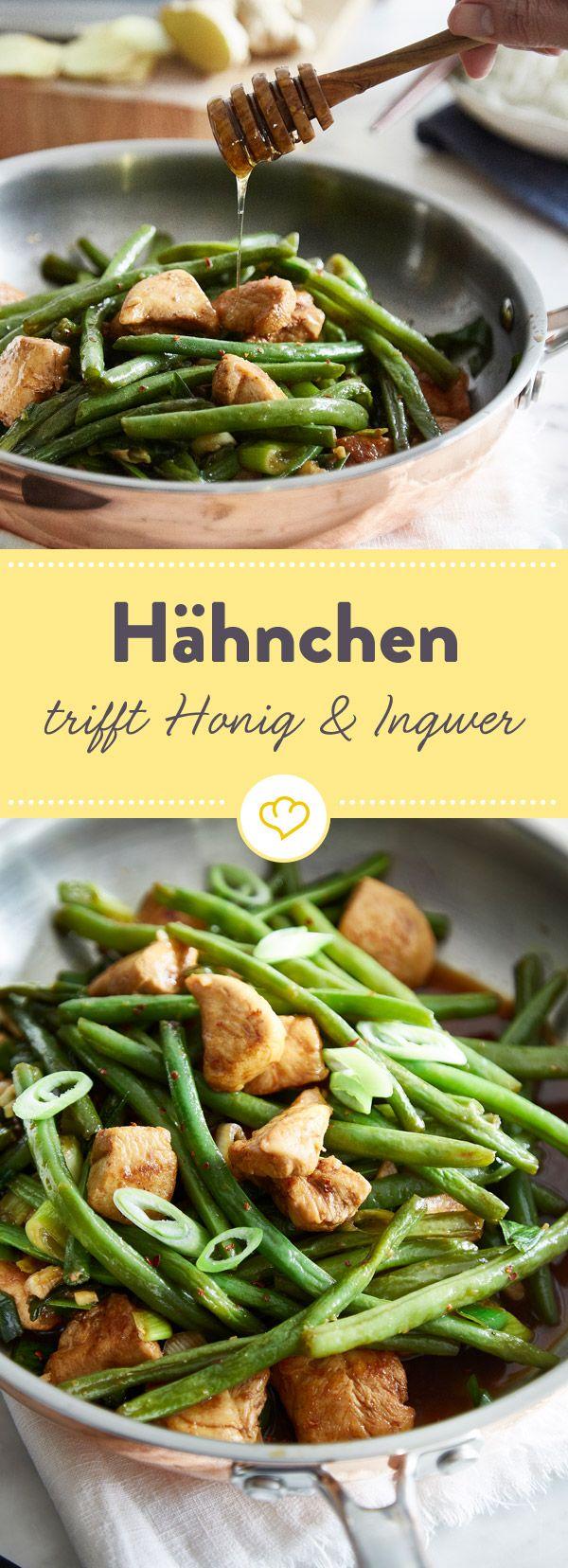 Hähnchen, grüne Bohnen, Honig, Sojasauce und reichlich frischer Ingwer - das wird die beste und schnellste Sattmacher-Pfanne für deinen Feierabend.