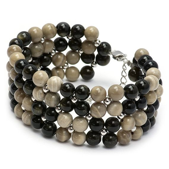 Black Obsidian and Striped Flint Grey / Beige and black by MYNESS