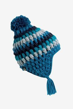 The Hail Storm is a fully fleece-lined ear flap hat with hand-crocheted detail in a geometric pattern.