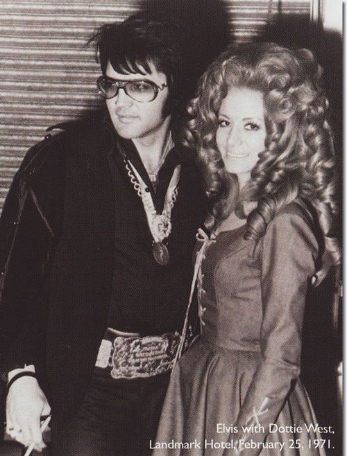 This is just...wow...Elvis Presley with Dottie West at the Landmark Hotel, February 25, 1971.