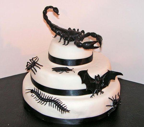 Lovely halloween torten grusel party plastik insekten skorpion fledermaus