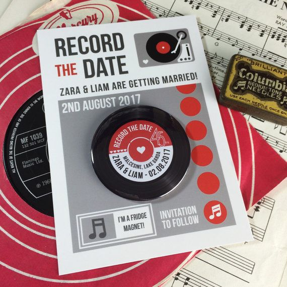 Wedding Vinyl Record Save The Date Magnets - Vintage Vinyl Record Design (Complete With Backing Postcards)