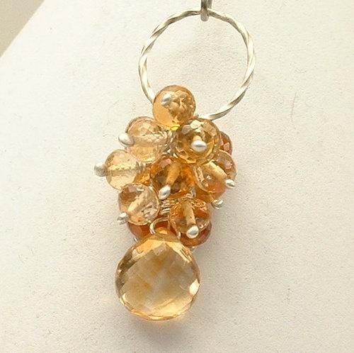 Honey Citrine, Lemon Quartz, Hessonite Garnet Crystal Gemstone Cluster Pendant November Birthstone, $31.00 https://www.facebook.com/pages/Healing-Crystal-Jewelry/300033266677889?sk=app_251458316228