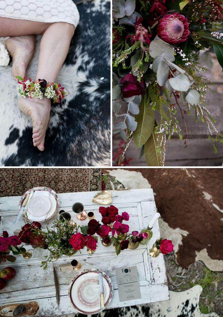 Bohemian Dreaming Wedding Shoot - Images by Peppermint Studios, Flowers & Styling by The Rutherglen Wedding Company, Stationery by Me & Em Graphic Design. Go to the blog for more images!