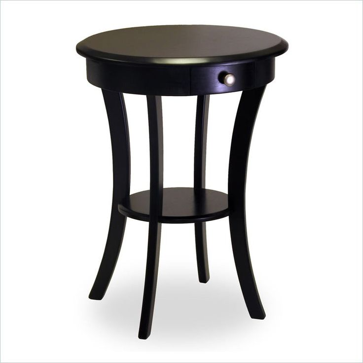 Winsome Wood Sasha Round Accent End Table With Drawer Curved Legs In Black    20227