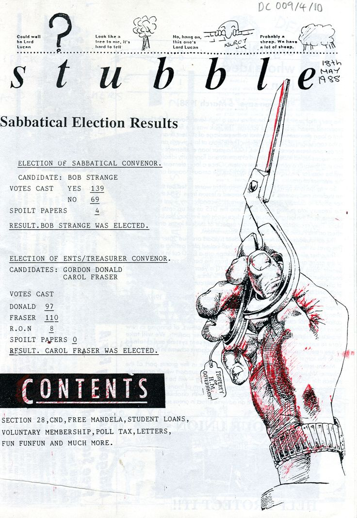 Archive reference: DC/9/4/10 'Stubble', student newsletter published by SRC, 1988