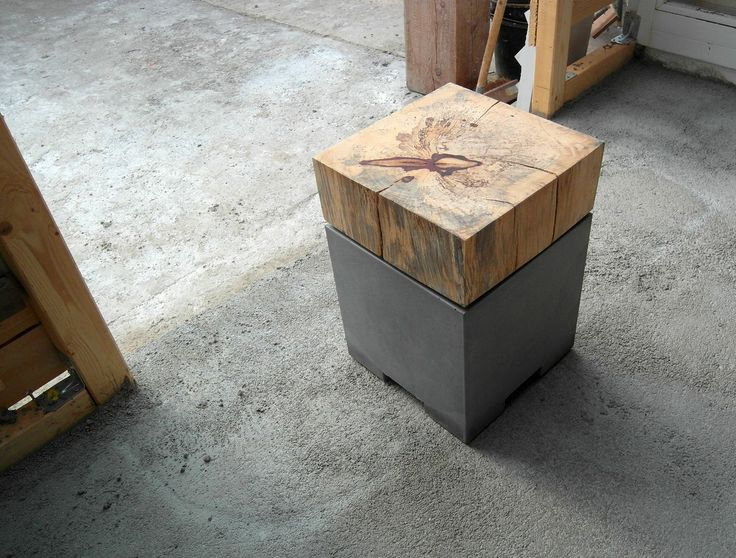 Betonmöbel - Hocker, Holz Tamarinde