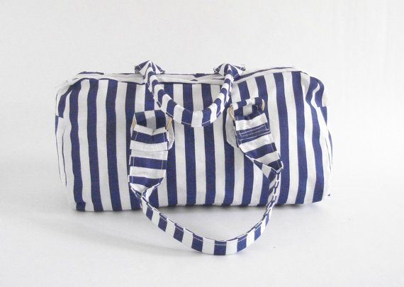 Satchel small handbag purse blue and white stripe by giggletree, $23.00