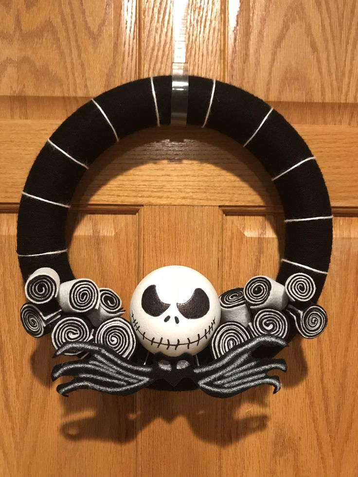 Excited to share the latest addition to my #etsy shop: NBC wreath, Jack Skellington, Nightmare Before Christmas http://etsy.me/2oSmUfV #housewares #homedecor #black #housewarming #halloween #white #entryway #nbc #nightmare