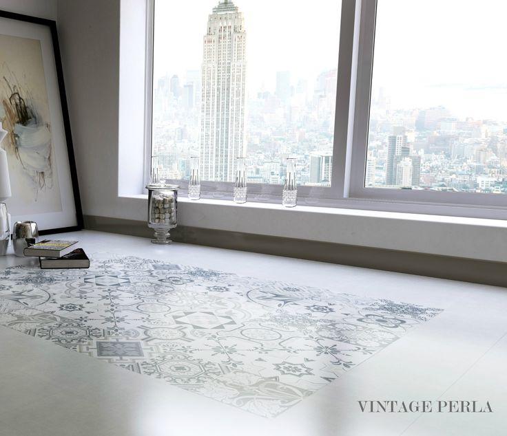 A #Home of #Inspiration, a #Porcelana Home! Vintage Perla #floor #tiles www.porcelana.gr