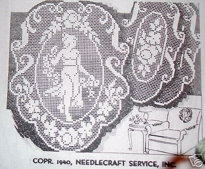 2723 Vintage Wheeler Cameo Filet Chairset Crochet Pattern Reproduction