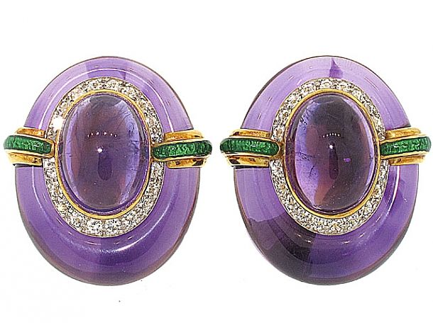 David Webb Amethyst and Diamond Earrings in 18K and Platinum