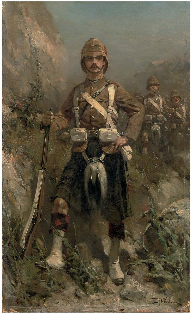 Highlander, Boer War. Likely uniform of the Black Watch. That unit was viciously…