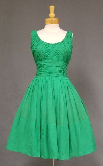 """Vintage late 1950's Green Chiffon Cocktail Dress - sleeveless, fitted bodice w/ gathered pleating, semi-full, gathered skirt. Lined, detached crinoline slip, rear metal zipper. """"Pab"""" label  --  VINTAGEOUS.COM"""
