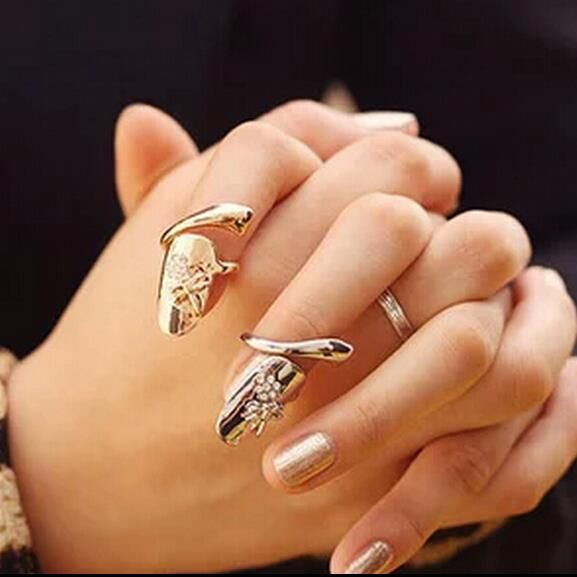 Kittenup 2016  Fashion Punk Summer Style Gold Color Silver Color  Finger nails Ring With Crystal Dragonfly  Jewelry 0045