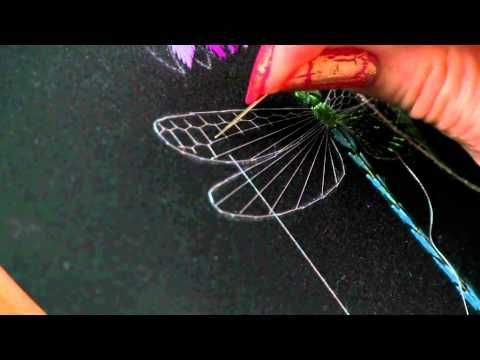 Dragon-fly Wings with Honeycomb Stitch Part 1 by Helen M Stevens - YouTube