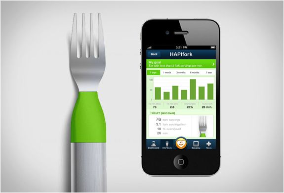 HAPIFORK- , Hapifork helps you monitor your eating habits, with multiple sensors in the handle, the fork vibrates when you are eating too fast. Equipped with Bluetooth and a mobile app, Hapifork communicates directly with your smartphone, giving you reports on the total number of bites and duration of meals for example, plus your health and fitness progress.