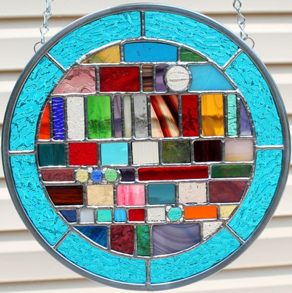Multicolored Round Geometric Stained Glass Panel from GoodGriefGlass on Etsy