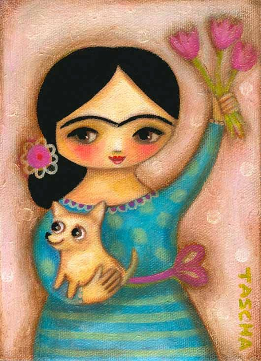FRIDA KAHLO with chihuahua pastel colors soft and pretty by tascha
