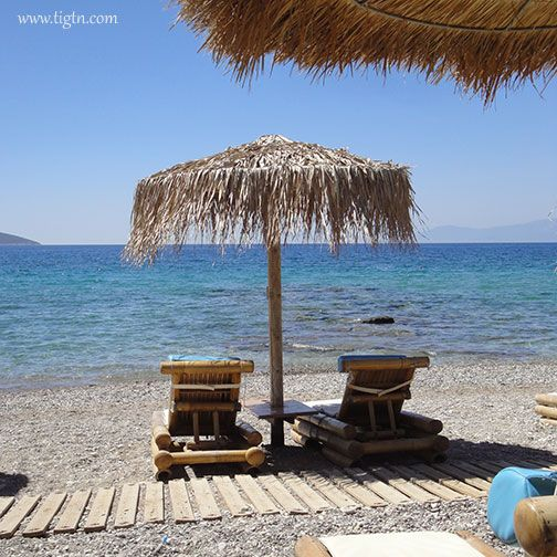Sunbeds outside Triton II Camping in #Plaka Beach, #Drepano village 10 km out of #Nafplio in the #Peloponnese - #Greece