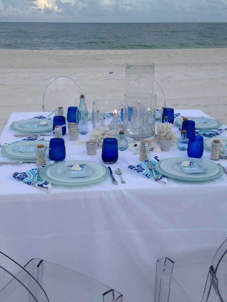 Lovely Different Dinner Party Ideas Part - 10: Mediterranean Dinner Party Decor. White Table Cloth With Different Blue  Tints. Coral Pieces For