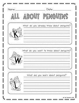 All About Penguins!  Short report on penguins outline.