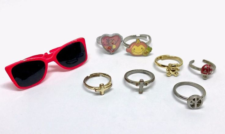 Vintage Lot of 8 Children's Costume Rings Various Sizes Adjustable Gifts NR #Kids