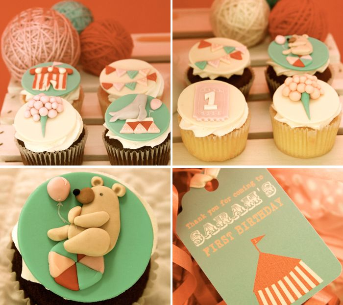 Vintage Carnival Inspired Party Cupcakes