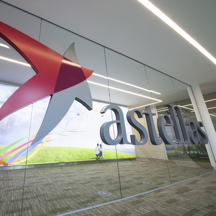 Built up lettering and rear laser cut individual graphics both bonded either side of the glazing. Astellas Pharma Europe Ltd head office