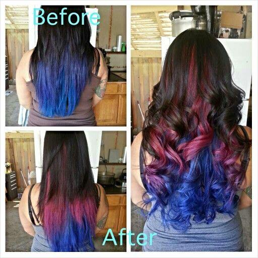 #beforeandafter of my hair.. yes I was bored today. #bluehair #purplehair #pinkhair #longhair #hairfordays #hair #straighthair #wavyhair #curls #ruskhaircolor #haircolor #sedu #sedurevolution #flatiron #wella #bellusacademy #belluspoway #cosmo103 #cosmostudent #brighthaircolor #funcolors #peacockhair #hairbysompath