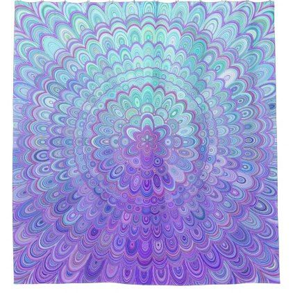 Mandala Flower in Light Blue and Purple Shower Curtain - floral style flower flowers stylish diy personalize