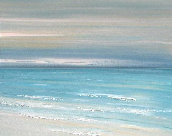 Beach ocean art painting Abstract Beach ocean by FradetFineArt, $22.00
