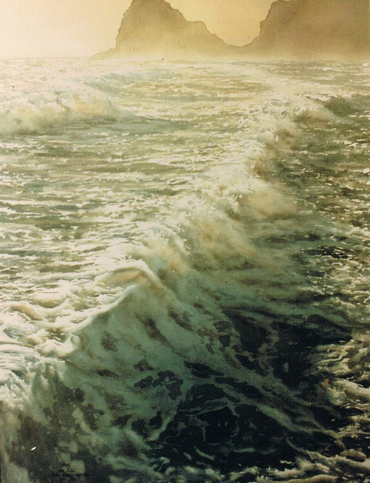 wave study in sun - water colour - www.paulconey.co.nz