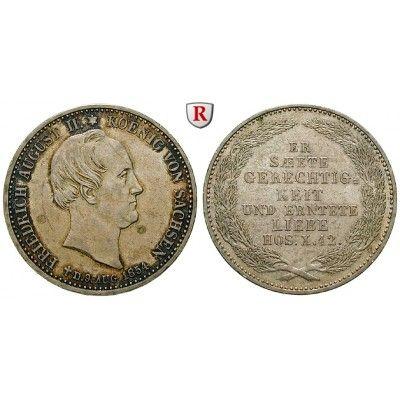 Sachsen, Königreich Sachsen, Friedrich August II., 1/3 Taler 1854, vz: Friedrich August II. 1836-1854. 1/3 Taler 1854. Auf seinen… #coins