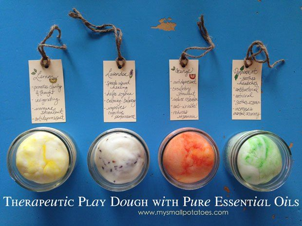 Play Dough just got oh, so much better! Therapeutic Play Dough with Pure Essential Oils via www.mysmallpotatoes.com