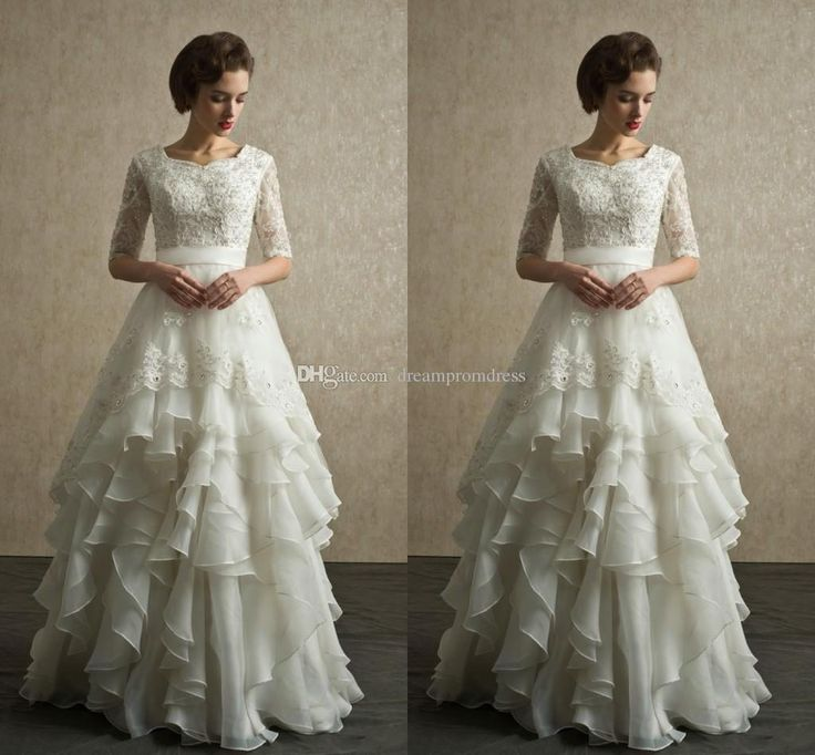 Half Sleeves Wedding Dresses 2015 New Arrival Modest Wedding Gowns With Sleeves Lace Organza Floor Length Beach Bridal Dresses Full Back from Dreampromdress,$145.14 | DHgate.com