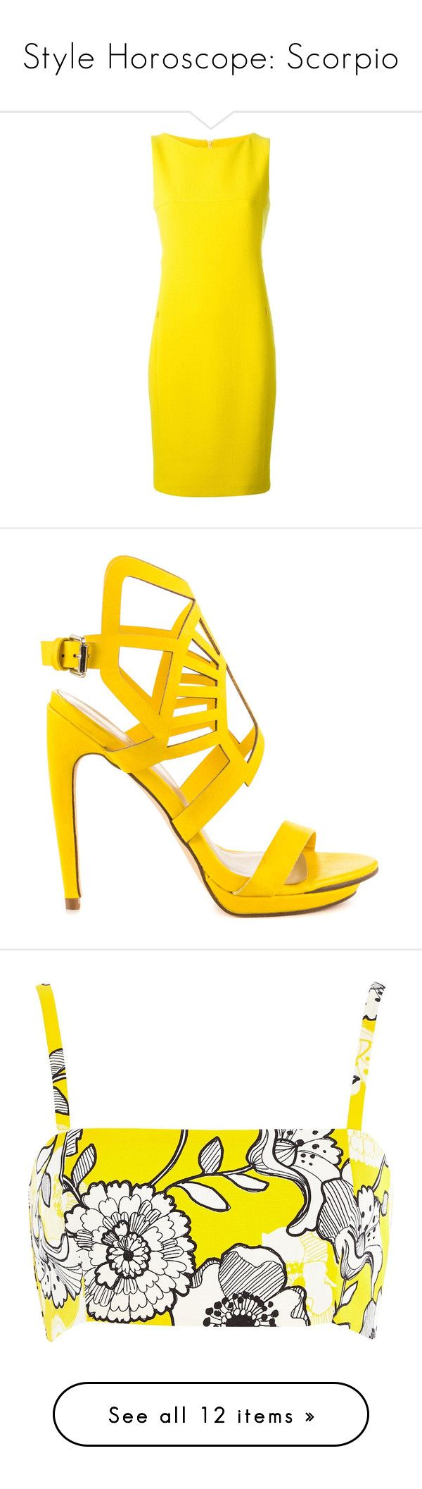 """Style Horoscope: Scorpio"" by polyvore-editorial ❤ liked on Polyvore featuring scorpio, stylehoroscope, dresses, akris dresses, yellow midi dress, akris, wool dress, yellow dress, shoes and heels"