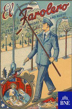El AGUINALDO consiste en obsequiar con regalos o dinero a los empleados por parte de la empresa o empleador. Es una tradición de Navidad que tiene su origen en la antigua Roma, donde era costumbre acompañar con regalos los buenos deseos y las felicitaciones con ocasión de las fiestas de Año Nuevo. Imagen: Felicitación de Navidad del farolero.1950-1960. Cromolitografía. Eph/521(6) de la BNE. Los empleados entregaban estas felicitaciones y recibían a cambio el aguinaldo. #navidad #christmas…