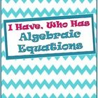 """Flash Freebie! Have fun solving algebraic equations! This """"I Have, Who Has"""" targets solving one-step addition and subtraction equations.  There are 32 cards in th..."""