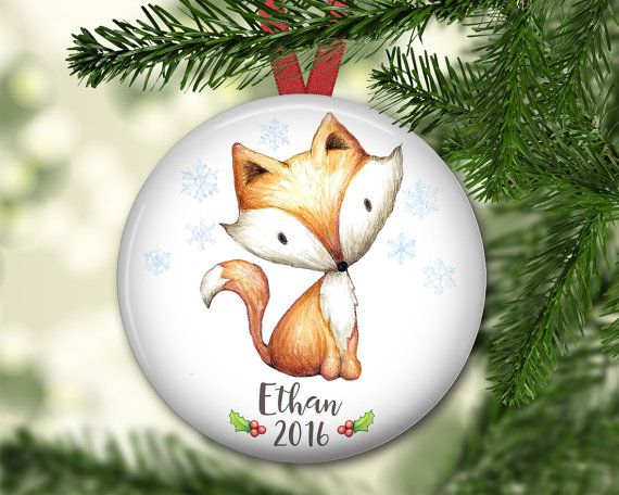Personalized Christmas ornament. Baby's first Christmas cute fox ornament.