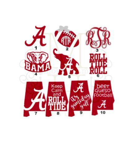 Alabama Decals / Roll Tide / Alabama Football / University of