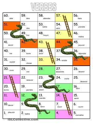C'est le fameux Jeu échelles et serpents. Peut être utilisé avec tous les temps. Les élèves doivent faire des phrases avec le temps qui est choisi par le professeurSi vous aimez cette fiche de travail, visitez aussihttp://www.zailda.com.br/francais.html - Fiches FLE