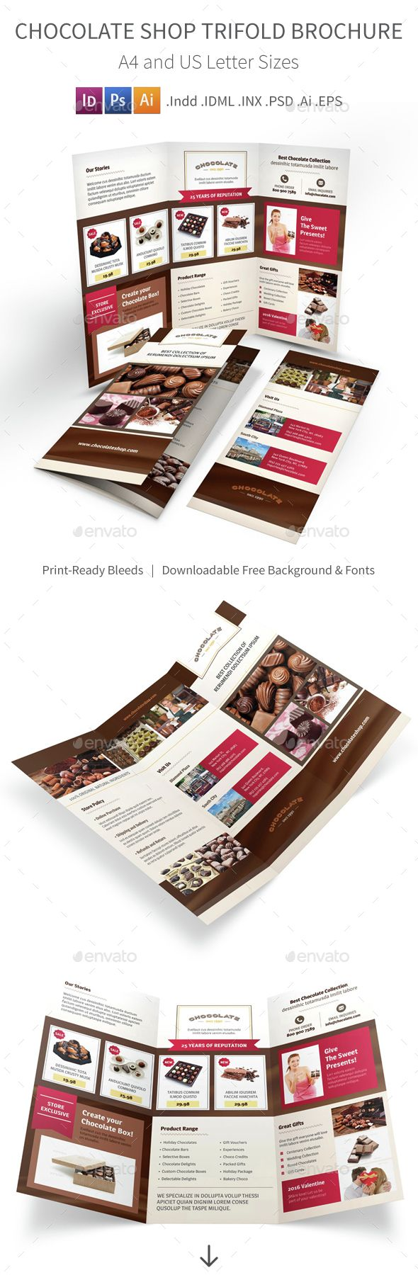 Chocolate Shop Trifold Brochure 2