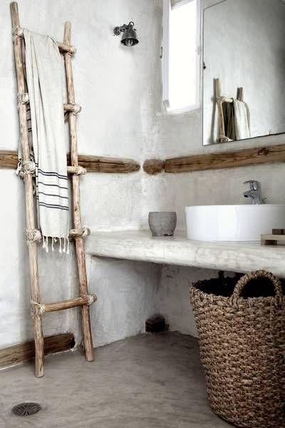 Saint Giorgio Mykonos kate young design, bathroom, sink, shower, rustic, ladder, decor, home, interior, design