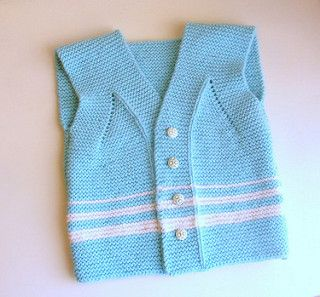 Garter stitch baby vest pattern by Pure Craft HHwkns kp 10.23.16 used 6 needle & dk/8ply yarn.