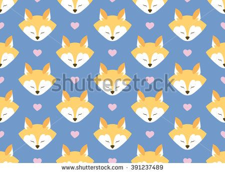 Seamless pattern with foxes and flowers. Bright colors. Blue background. Wrapping.  For decorating postcards, backgrounds, packages.