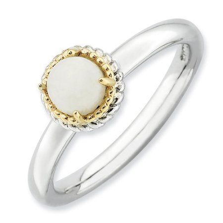 Sterling Silver & 14k Stackable Expressions White Agate Polished Ring, Women's, Size: 8