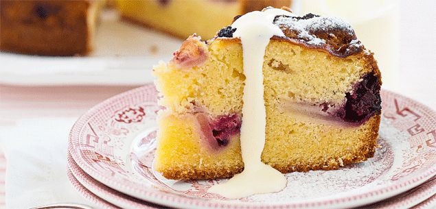 Always moist, thanks to the apple and berries, this cake is a beauty. It can be enjoyed with a cup of tea, but is equally scrumptious served warm with custard for dessert.