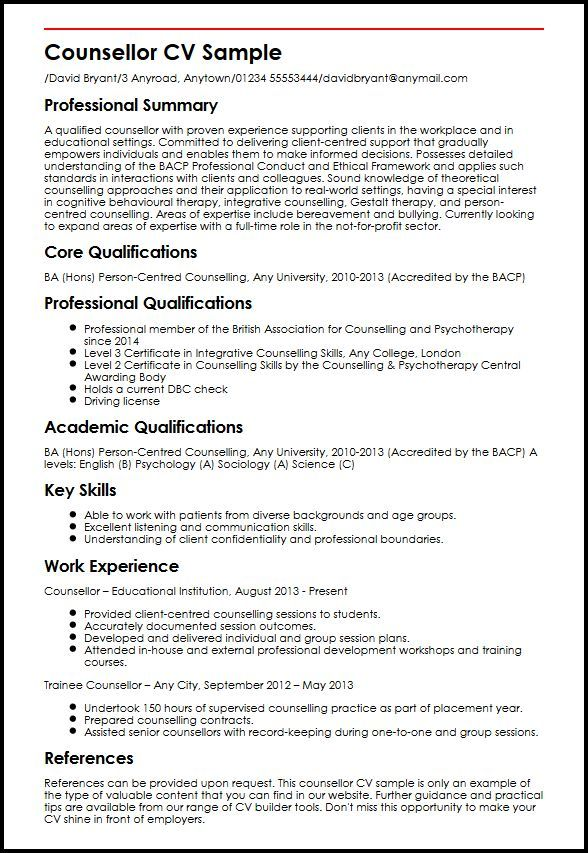 Cv Template Therapist Cvtemplate Template Therapist Counseling Resume Examples Resume Template