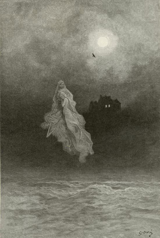 "Dark Classics: Paul Gustave Doré, ""The Raven"" by Edgar Allan Poe; Plate 25 - Back into the Tempest"